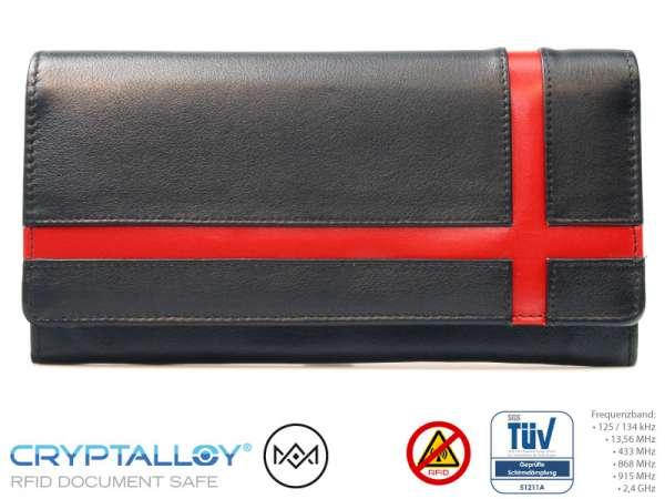 RFID Damenbörse RFID NFC Leder Rot