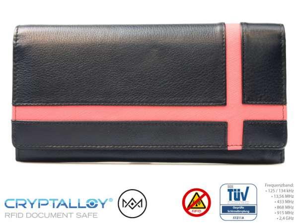 RFID Damenbörse RFID NFC Leder Pink